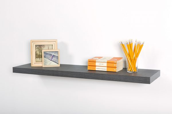 Flexi Storage Decorative Shelving Floating Shelf Ash Oak 900 x 240 x 38mm fitted on wall with decorations on top