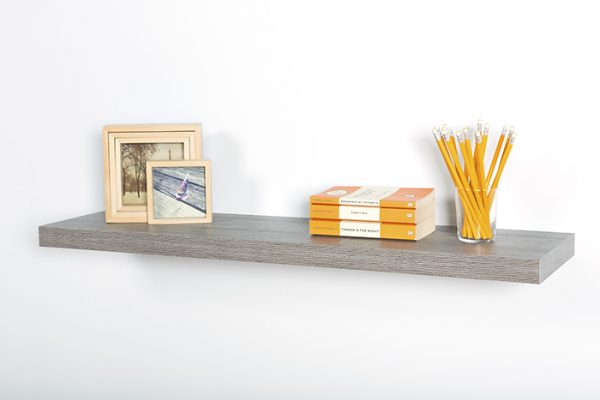 Flexi Storage Decorative Shelving Floating Shelf Grey Oak 900 x 240 x 38mm fitted on wall with decorations on top