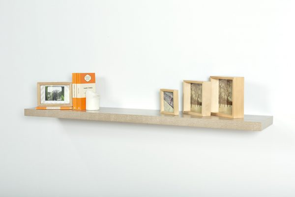 Flexi Storage Decorative Shelving Floating Shelf Oak 1200 x 240 x 38mm fitted on wall with decorations on top