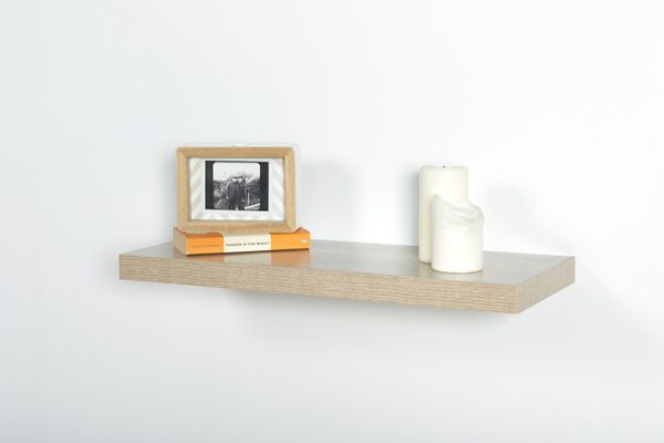 Flexi Storage Decorative Shelving Floating Shelf Oak 600 x 240 x 38mm fitted on wall with decorations on top