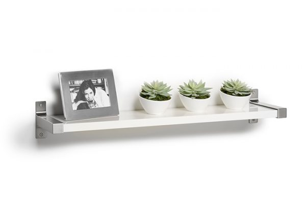 Flexi Storage Decorative Shelving Style Shelf White Gloss 900 x 190 x 24mm fitted on wall with decorations on top