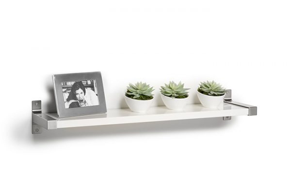 Flexi Storage Decorative Shelving Style Shelf White Matt 600 x 190 x 24mm fitted on wall with decorations on top