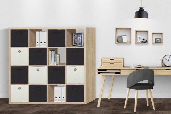 Flexi Storage Clever Cube 4 x 4 Cube Oak Storage Unit used in a home office