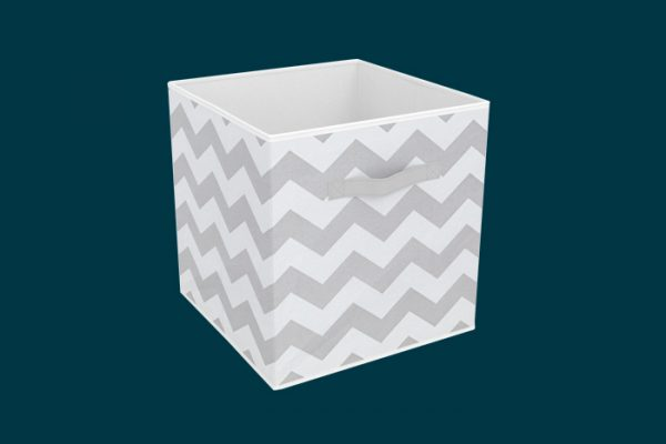 Flexi Storage Clever Cube Compact Fabric Insert Cool Grey Chevron isolated