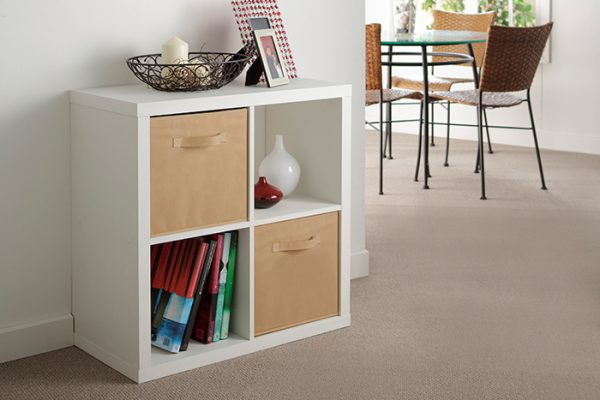 Flexi Storage Clever Cube Fabric Insert Coffee fitted inside Clever Cube 2x2 White Unit in living room