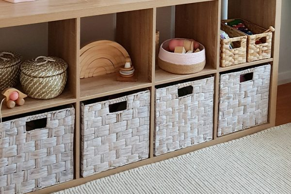 Flexi Storage Clever Cube Natural Insert Water Hyacinth White used in 2 x 4 Oak Clever Cube Unit