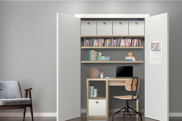 Flexi Storage Clever Cube Premium Fabric Insert Sandy White used as storage in a study nook
