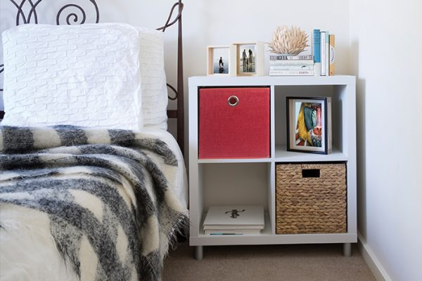 Flexi Storage Clever Cube Premium Fabric Insert Woven Tango fitted inside Clever Cube 2x2 Unit White in bedroom