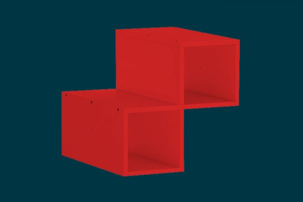 Flexi Storage Clever Cube Timber Insert Divider Red isolated