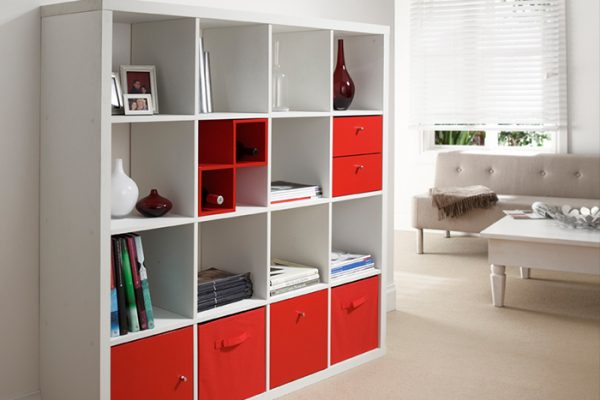 Flexi Storage Clever Cube Timber Insert Divider Red fitted inside Clever Cube 4x4 Unit White in lounge room