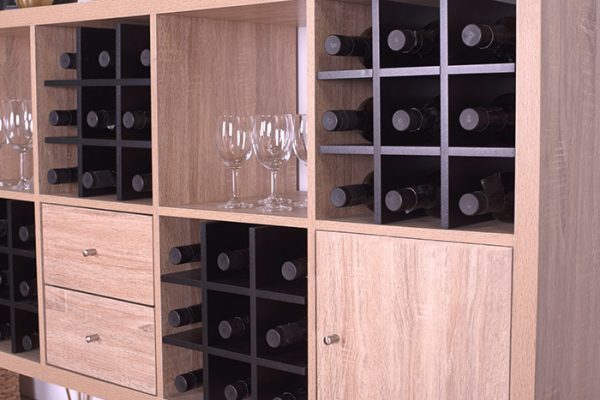 Flexi Storage Clever Cube Timber Insert Wine Rack Black used in Oak Clever Cube unit to store wine