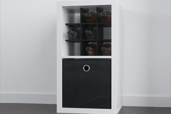 Flexi Storage Clever Cube Premium Fabric Insert Ember Black fitted in Clever Cube 1x2 Unit White