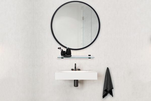 Flexi Storage Decorative Shelving Glass Shelf 600x200x8mm installed in bathroom