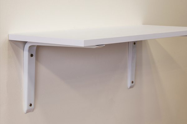 Flexi Storage Decorative Shelving Mitred Bracket White installed onto wall with timber shelf affixed on top
