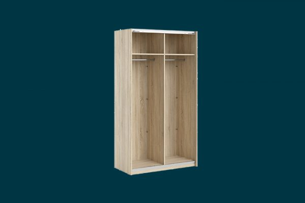 Flexi Storage Wardrobe 2 Door Sliding Wardrobe Frame Oak isolated