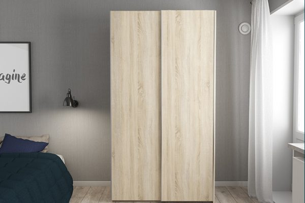 Flexi Storage Wardrobe 2 Door Sliding Wardrobe Frame Oak in bedroom fitted with Oak Doors