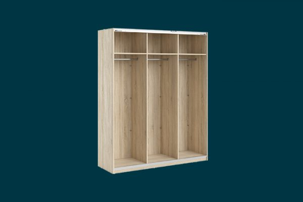 Flexi Storage Wardrobe 3 Door Sliding Wardrobe Frame Oak isolated