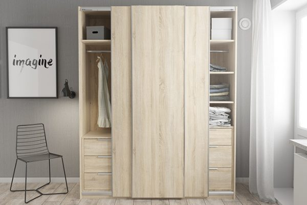 Flexi Storage Wardrobe 3 Door Sliding Wardrobe Frame Oak in bedroom fitted with Oak Doors