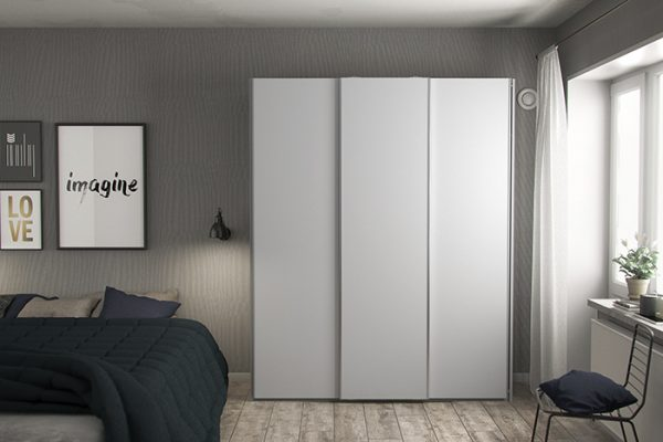 Flexi Storage Wardrobe 3 Door Sliding Wardrobe Frame White in bedroom fitted with High Gloss White Doors