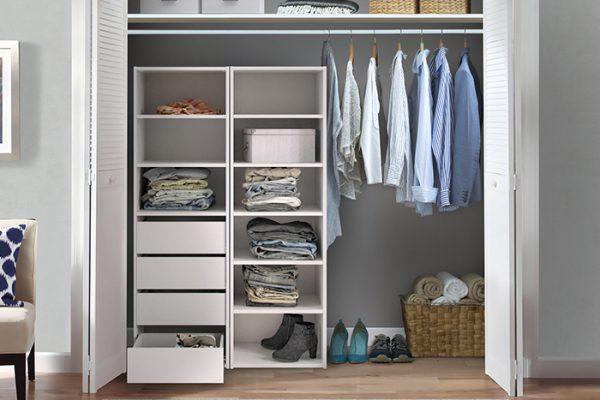Flexi Storage Wardrobe Built-In Wardrobe 6 Shelf Unit White installed in a built in wardrobe