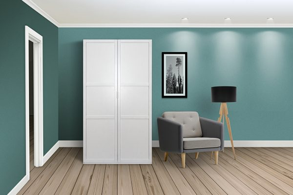 Flexi Storage Wardrobe Hinged Wardrobe 2 Door Frame White in room with Classic Hinged Doors installed