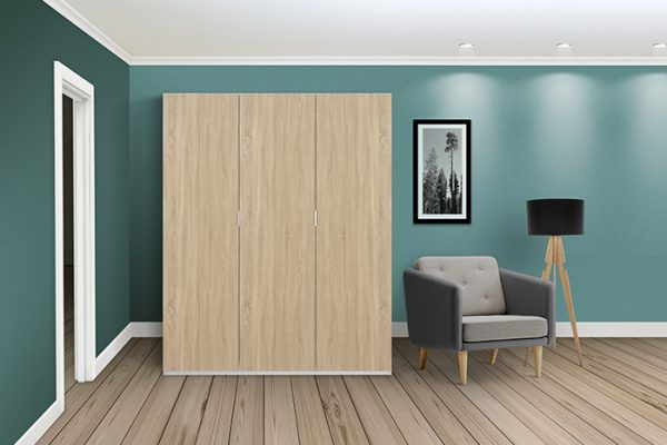 Flexi Storage Wardrobe Hinged Wardrobe 3 Door Frame White in room with Oak Hinged Doors installed