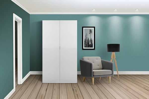 Flexi Storage Wardrobe Hinged Wardrobe Door High Gloss White in room installed on Hinged Wardrobe 2 Door Frame White