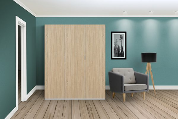 Flexi Storage Wardrobe Hinged Wardrobe Door Oak in room installed on Hinged Wardrobe 2 Door Frame White