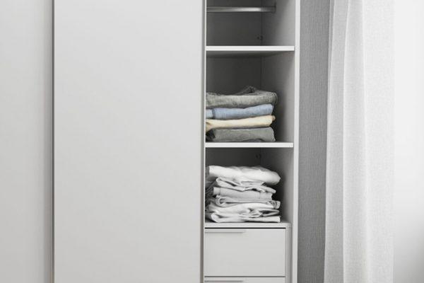 Flexi Storage Wardrobe Sliding Wardrobe 2 Shelves White fitted in 2 Door Sliding Wardrobe White
