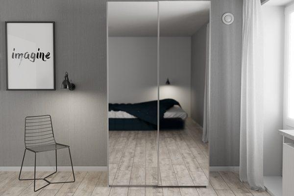 Flexi Storage Wardrobe Sliding Wardrobe Door Mirror in bedroom fitted on 2 Door Frame White