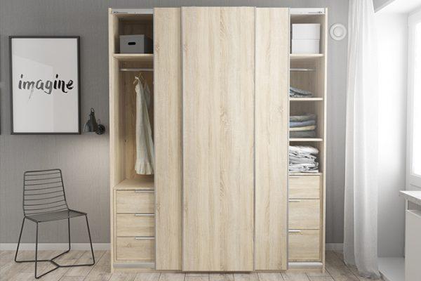 Flexi Storage Wardrobe Sliding Wardrobe Door Oak in bedroom fitted on 3 Door Frame Oak