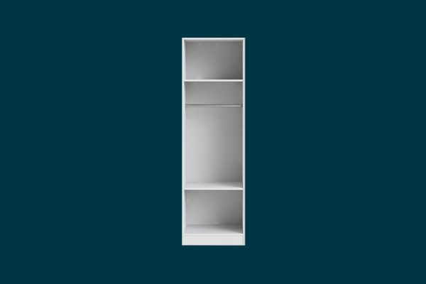 Flexi Storage Wardrobe Walk-In Wardrobe 1 Hang Rail 2 Shelf Unit White isolated