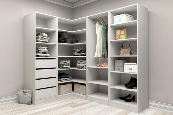 Flexi Storage Wardrobe Walk-In Wardrobe 1 Hang Rail 2 Shelf Unit White installed in a walk in wardrobe