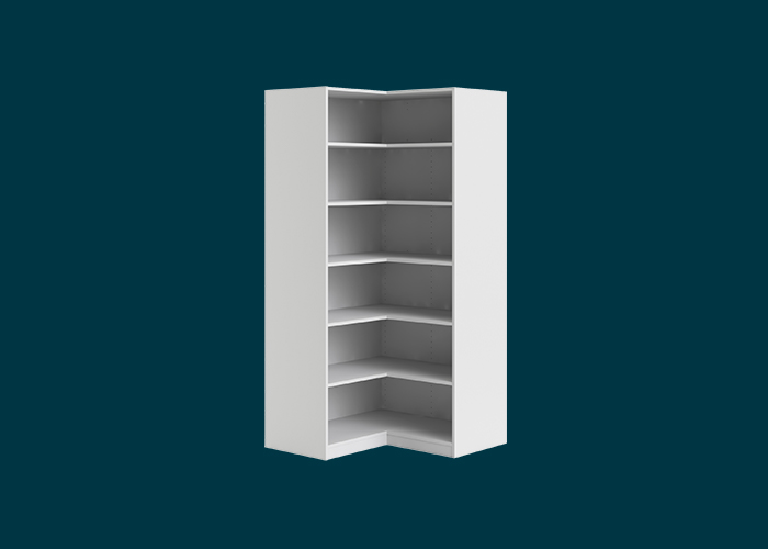 Walk-In Wardrobe 6 Shelf Corner Unit White