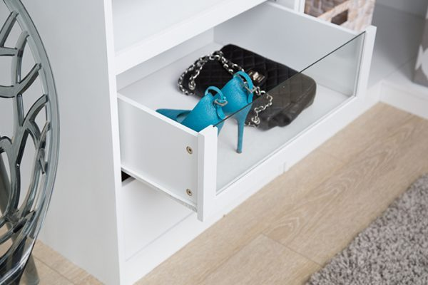 Flexi Storage Wardrobe Walk-In Wardrobe Glass Front Drawer installed in a walk in wardrobe