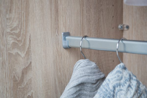 Flexi Storage Wardrobe Walk-In Wardrobe Hanging Rail installed in a walk in wardrobe