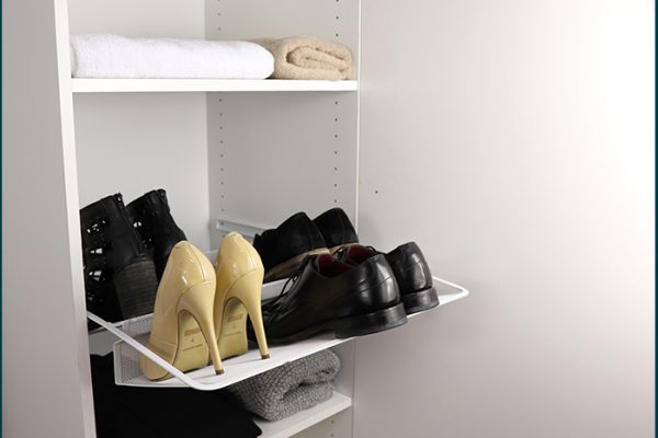 Flexi Storage Wardrobe Walk-In Wardrobe Mesh Shoe Rack installed in a walk in wardrobe