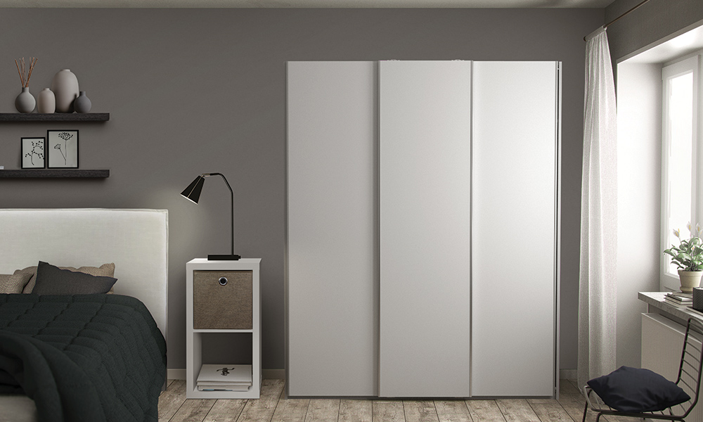 Flexi Storage Wardrobe Sliding Wardrobe 3 Door Frame White in bedroom with Sliding Doors White installed