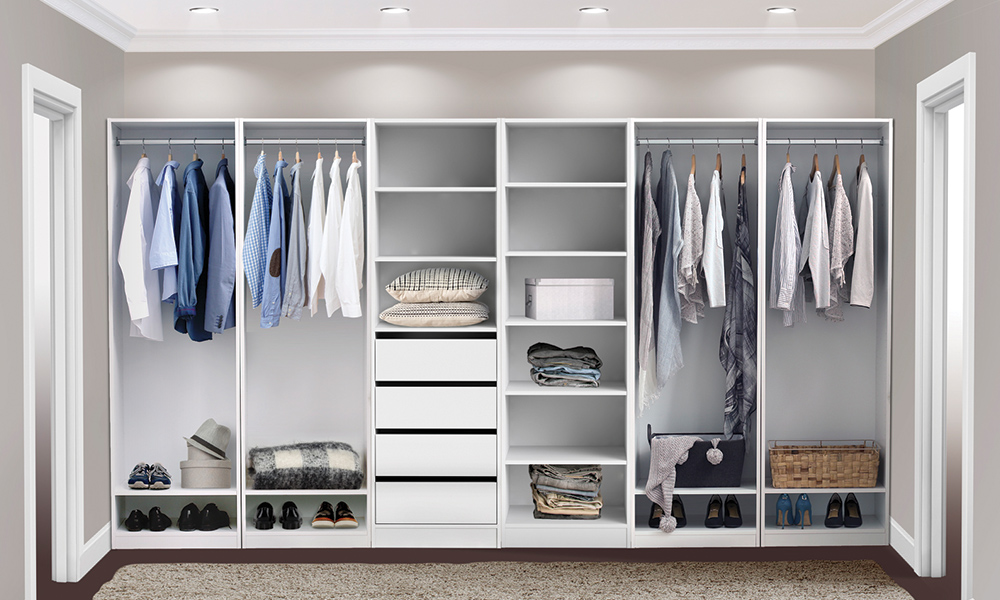 Flexi Storage Wardrobe Walk-In Wardrobe setup using the Walk-In Wardrobe Range