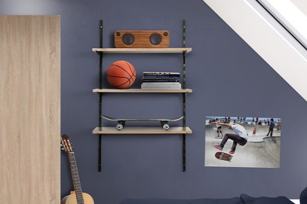 Flexi Storage Home Solutions Single Slot Wall Strip Black installed on wall and combined with Single Slot Brackets and Timber Shelving in a bedroom