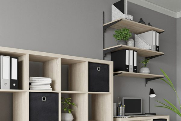 Flexi Storage Home Solutions Single Slot Wall Strip Black installed on wall and combined with Single Slot Brackets and Timber Shelving in a home office