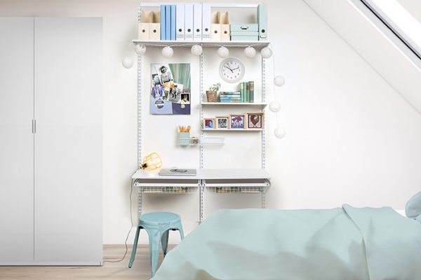 Flexi Storage Home Solutions Timber Shelf White 600x250x16mm mounted on Home Solutions Double Slot System and used as shelving in a study setup in a bedroom
