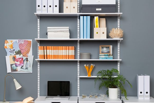 Flexi Storage Home Solutions Timber Shelf White 900x200x16mm mounted on Home Solutions Double Slot System and used as shelving in office setup