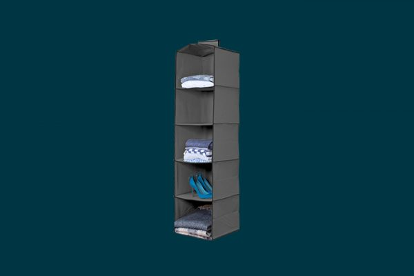 Flexi Storage 5 Shelf Premium Hanging Organiser filled with clothing