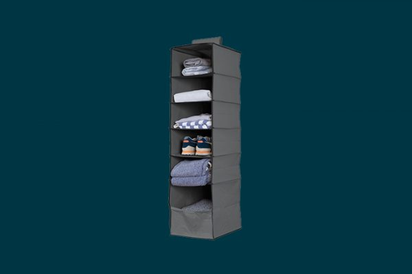 Flexi Storage 6 Shelf Premium Hanging Organiser filled with clothing