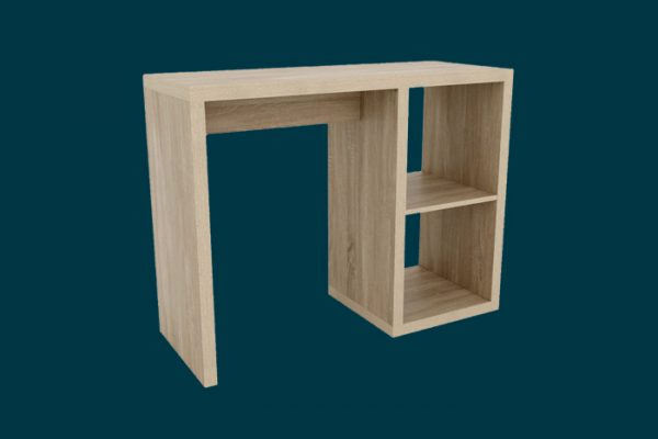 Flexi Storage Clever Cube 1 x 2 Cube Desk Oak isolated