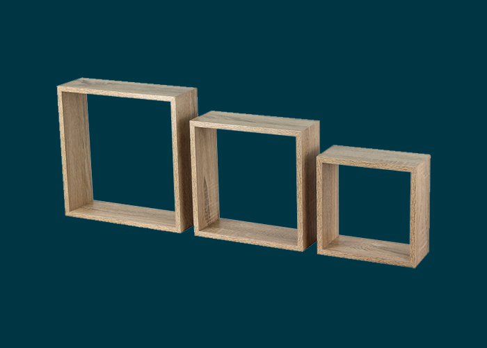 Wall Mount Cubes 3PK Oak