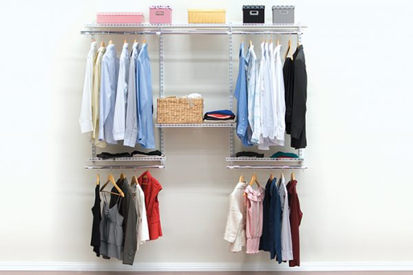 Flexi Storage Home Solutions 1.8m Wardrobe Starter Kit White installed and filled with clothes