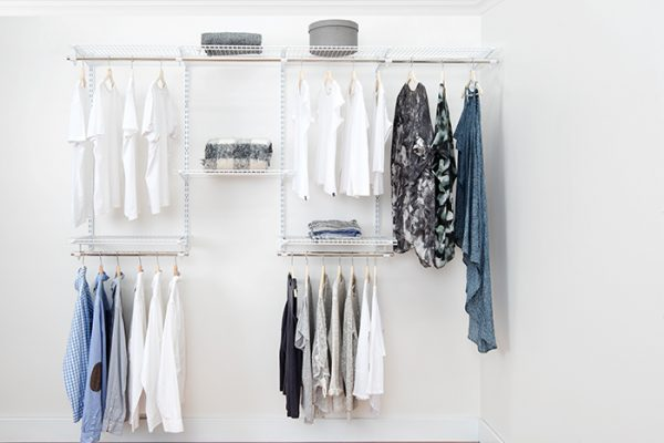 Flexi Storage Home Solutions 2.4m Wardrobe Starter Kit White installed and filled with clothes