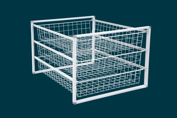 Flexi Storage Home Solutions 3 Runnner Frame White constructed with 435mm Cross Bars and fitted with 1 Runner Wire Baskets